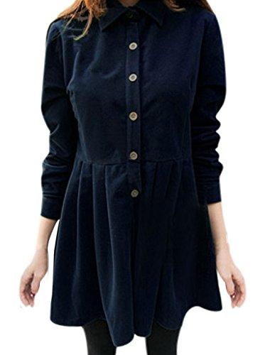 Damen Punktkragen Langärmlig Plissiert Hemd Kleid Marineblau