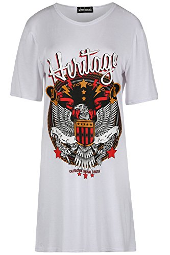 Be Jealous Frauen übergroße Ausgebeult Lange Linie Kurzarm Rock America Heritage Eagle Mini T-Shirt Kleid Creme