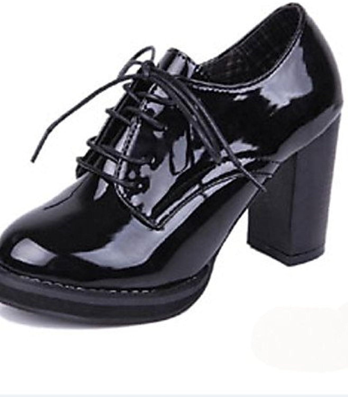 NJX/ hug Zapatos de mujer-Tacón Robusto-Punta Redonda-Tacones-Casual-Semicuero-Negro / Rojo , red-us8 / eu39 /...