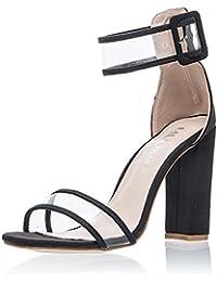 Minetom Mujer Verano Tendencia Elegante Moda Sandalias De Tacón Alto Transparente Correa Hebilla Botón Sandals Zapatos