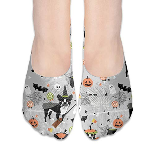 New Hats Boston Terrier Halloween Dog Costume, Halloween Dog, Dog Breed, Witch, Pumpkin, Candy, Cute Dog - Grey Cotton Low Cut Socks Non-Slip Grips Casual for Men and Women