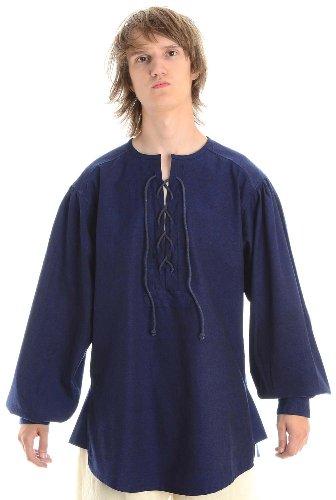 Mittelalterliches Schnürhemd Mittelalter Hemd blau Gr. XXXL (Kleidung-rüstung Mittelalterliche)