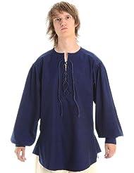 Hemad.De - Chemise Médiévale A Laçage - Bleu S-Xxxl