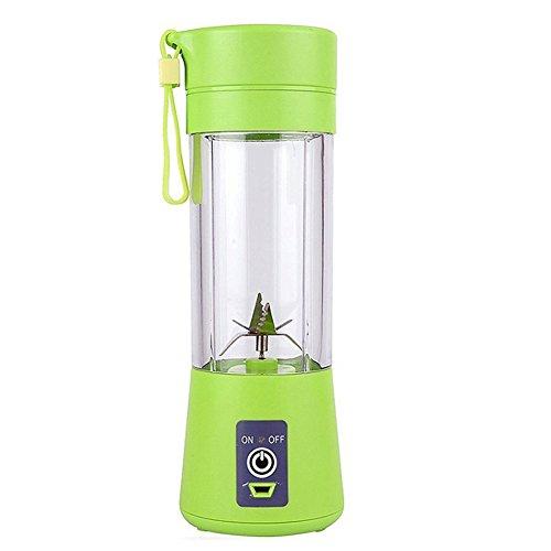 Panoeagle - Extractor y mezclador de zumo de frutas portátil  de 380 ml con USB recargable y 6 cuchillas, para exterior, clase energética A+++., acero inoxidable, Verde, 75*75*232mm