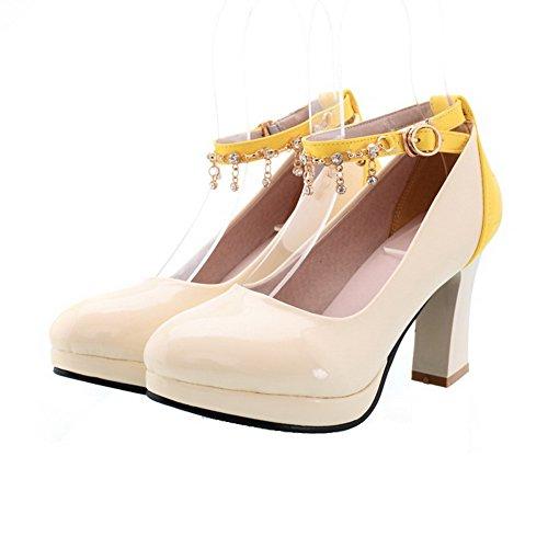 AgooLar Femme à Talon Haut Couleurs Mélangées Tire Rond Chaussures Légeres Jaune