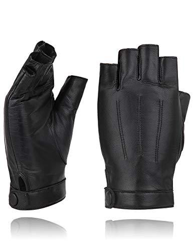 guanti mezze dita donna YISEVEN Guanti in pelle di agnello senza dita donna Sottili sfoderati per guida motociclistica Protezione da lavoro invernale con pelle di prima qualità