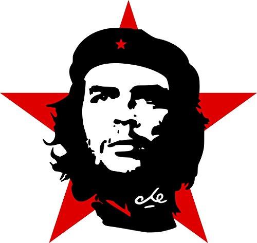 Etaia 8x8 cm Auto Aufkleber Che Guevara roter Stern Revolution Kuba Cuba Sticker Motorrad Handy Laptop -