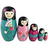Juego de 5pcs adorable japonesa muñecas Kokeshi Kimono niña esmaltada Nesting muñeca Kimmidoll japonés regalo adorno de muñeca japonesa