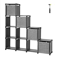 SONGMICS DIY Cube Storage Unit with 4 Storage Boxes 12 Cubes Multifunctional Bookcase and Shoe Rack Modular Sturdy Metal Frame Includes Rubber Mallet 105 x 30 x 140 cm (W x D x H) Black LSN34BK
