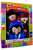 Au Sycomore - MAST302 - Coffret de Trois Marionnettes avec Livre d'Histoire - Trio Guignol, Gnafron, Gendarme