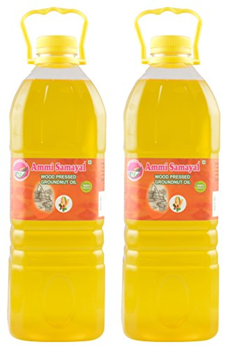 Ammi Samayal Wood Pressed (cold press) Edible Groundnut Oil, 2 L (Pack of 2)