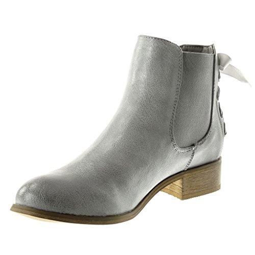 Angkorly Chaussure Mode Bottine Chelsea Boots Femme Noeud Lacets Talon Bloc 3 cm - Intérieur Fourrée Argent 2