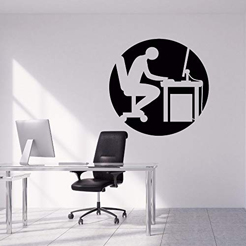 WWYJN Office Wall Stickers Removable People Working Hard Silhouette Wall Decal Office Wall Art Mural Design Office Vinyl Decal Gray 42x42cm (Frauen Köln Polo)