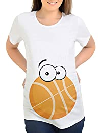 Wawer Blusa de manga corta para embarazada para mujer, estampado de baloncesto de verano, camiseta…