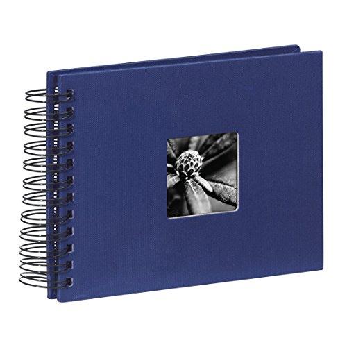 Hama Fotoalbum Spiralalbum, 50 schwarze Seiten, 25 Blatt, Größe 24 x 17 cm, mit Ausschnitt für Bildeinschub, Fotobuch blau