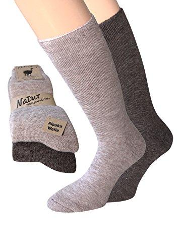 Alpaka Socken Herren und Damen dick weich soft mit Alpaka Wolle Socken in Naturfarben (39-42, Alpaka Thermo 1xbraun/1xdunkelbraun)