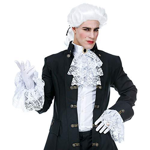 NET TOYS Spitzen-Jabot mit passenden Manschetten | 3-teilig in weiß | Elegantes Herren-Kostüm-Zubehör Rokoko Rüschen-Kragen mit Armstulpen | Perfekt angezogen für Mottoparty & Maskenball (3 Teiliges Rüschen Kostüm)