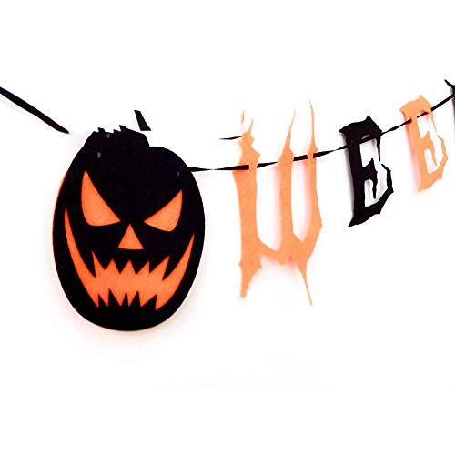 1 x Vintage Happy Halloween Banner Wimpelkette mit Kürbis-Schild - Halloween-Themen-Party-Dekorationen, Heimdekoration, zum Aufhängen von Foto-Requisiten (Clown Themen Für Halloween)