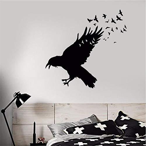 Mddrr Vinyl Wall Decal Schwarz Raven Vogelschwarm Wandaufkleber Gotik Home Decor Vögel Tier Vinyl...