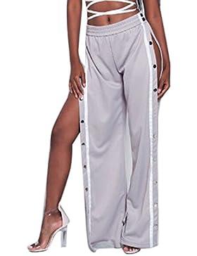 La Mujer Alta De Hendidura Lateral Boton Casual Pantalones Largos Pantalones De Pierna Ancha