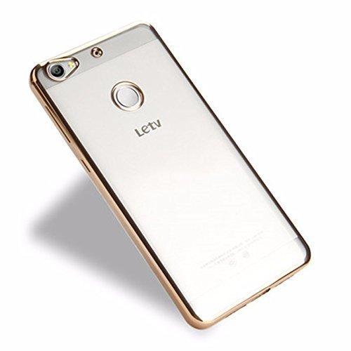 LeTv Le 1s Transparent Gold Border Back Cover Premium Crystal Clear Case by CobertaTM