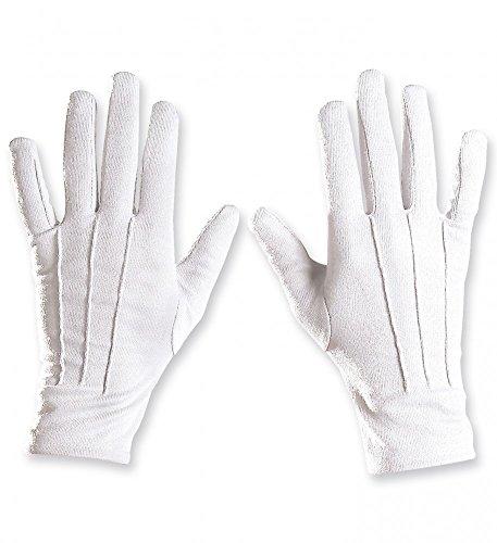 (shoperama Weiße Handschuhe mit Ziernähten kurz Kostümzubehör Weihnachtsmann Nikolaus Santa: Herren)