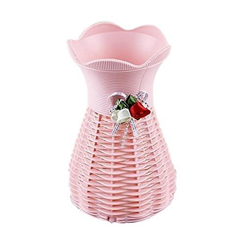 Dikewang Décoration Superbe en rotin Fleurs Vase Panier Fleurs mètres Fleur Bouteille rose