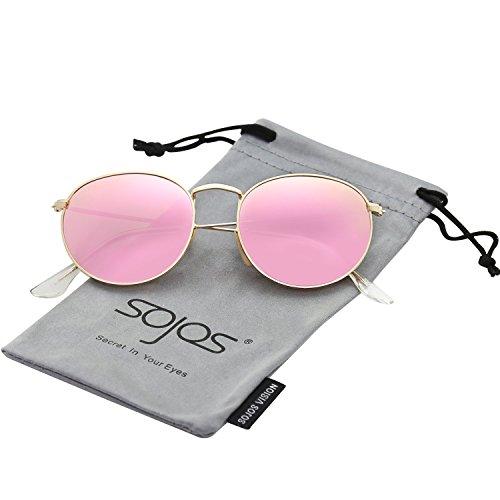 risiert Damen Herren Sonnenbrille Mirrored Linsees Unisex Sunglasses SJ1014 mit Gold Rahmen/Rosa Linse (Rosa Sonnenbrille)