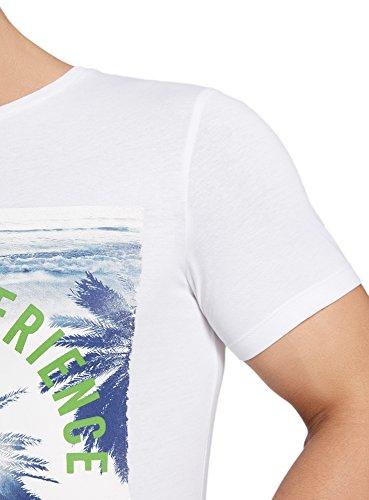 oodji Ultra Uomo T-Shirt Dritta con Stampa da Spiaggia Bianco (1075P)