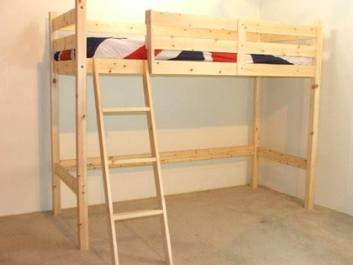 Strictly Beds and Bunks Limited Loft bunkbed - wooden 3ft High Sleeper - Solid Natural Pine - FAST DELIVERY