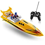 Top Race Remote Control Water Boat, RC Boat per Bambini, Perfect Toy per Piscine e Laghi 8 mph (Giallo)