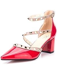 WHLShoes Sandalias Y Chanclas Para Mujer Sandalias De Tacón De Metal De Punta Fina Boca Superficial Con El Ocio...