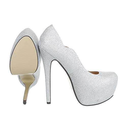 High Heel Damenschuhe Plateau Pfennig-/Stilettoabsatz High Heels Ital-Design Pumps Silber AX-2-1