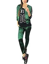 Tute Donna Ginnastica Eleganti Manica Lunga Con Zip Giacca E Lunghi  Pantaloni Giovane Grazioso Sportivi Due 2b6b20b394f