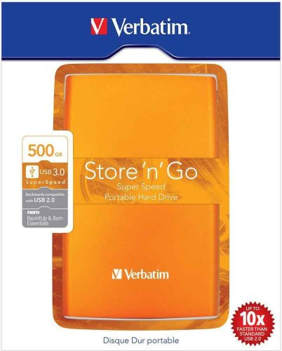 Verbatim Store 'n' Go Portable 500GB externe Festplatte (6,4 cm (2,5 Zoll), 5400 rpm, 8MB Cache, USB 3.0) orange