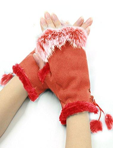 sourcingmap® Damen Plüsch Verschönert weich Linie Winter Fingerlos Handschuhe (Handschuhe Tiger Print)