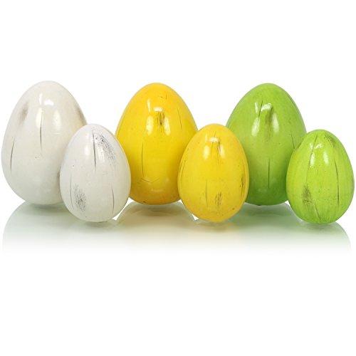 COM-FOUR® 6x oeuf en céramique dans différentes tailles, en céramique aux œufs de Pâques en vert, jaune et blanc, décoration pour Pâques, 6,5 cm, 8,5 cm (06 pièces - oeuf en céramique petit + grand)