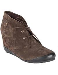 Salt N Pepper Cynthia Dark 100% Genuine Suede Leather Women Brown Mid Ankle Flat Boots