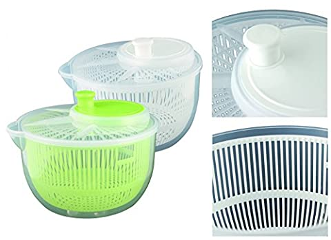 Salad Spinner Plastic Salad Bowl Small with Spout Transparent Coloured Insert Ø 19cm Weiß