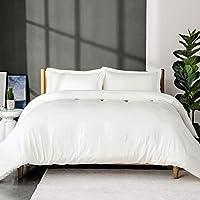 Bedsure Washed Duvet Cover Superkingsize - 3 pcs Bedding Set with Zipper Closure, White, 260x220cm