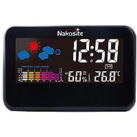 Nakosite TEMP2433 La meilleure Station Meteo Couleur Interieur Temperature Thermomètre Hygromètre bebe Humidimetre maison. Fonctionne comme horloge, calendrier et réveil, pour la maison, le bureau, etc. Écran plat COULEUR, nouvelle technologie, utilisé soit avec un câble USB (fourni), soit avec des piles AAA (non incluses), noir, garantie