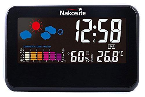 Nakosite TEMP2433 Wetterstation innen mit digital Hygrometer Thermometer. FARB-Bildschirm, USB-Kabel (mitgeliefert) oder AAA-Batterien (Nicht im Lieferumfang enthalten)