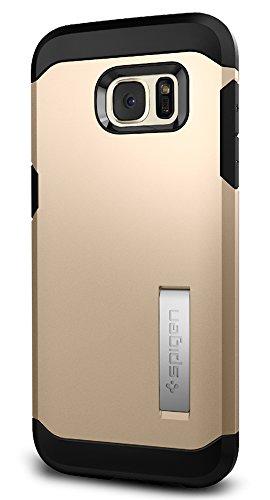 Samsung Galaxy S7 Edge Hülle, Spigen® [Tough Armor] Schwerschutz [Schwarz] Doppelte Schutzschicht & Extrem Hoher Fallschutz Schutzhülle für Samsung S7 Edge Case, Samsung S7 Edge Cover - Black (555CS20 TA Champagne Gold