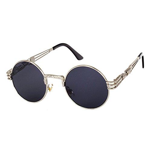 Highdas Metall Sonnenbrillen Damen Herren Vintage Retro Runde Sunglass Steampunk Beschichtung Glaser C6
