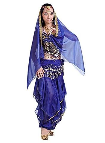YiJee Danse du Ventre de Bandage Haut avec Chest Pad / Pantalon /Ceinture / Grand Foulard Tete Pendante Bells Et des Monnaies Saphir