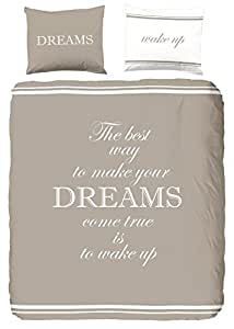 GOOD MORNING Parure de couette Dreams 100% coton - 1 housse de couette 140x200cm + 1 taie d'oreiller 60x70cm taupe