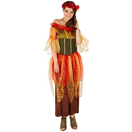 Imagen de disfraz de hada del otoño para mujer | vestido largo consta de varias capas | incl. corona floral a juego m | no. 301151