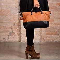 Sac en cuir marron et noir, sac en cuir moyen, sac en cuir, sac fait main,. 95c8dc2cf62