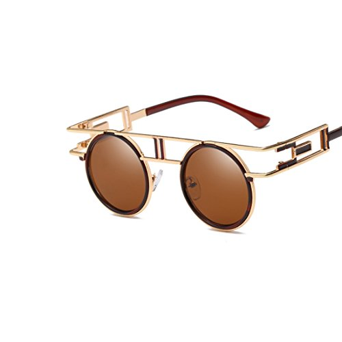 Yiph-Sunglass Sonnenbrillen Mode Bunte Sonnenbrillen aus Filmmetall for Herren und Damen mit rundem Gesicht (Farbe : Gold Frame/Tea Lens)