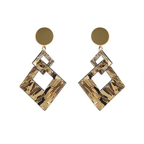 Deinbe 1 Paar Frauen Mädchen Square Acetate Link-Ohrringe Geometric Marmor Muster Acetate Hoop Lange Tropfen-Ohrringe